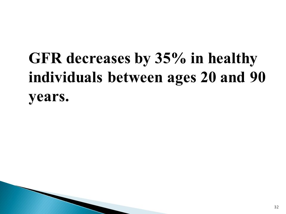 GFR decreases by 35% in healthy individuals between ages 20 and 90 years.