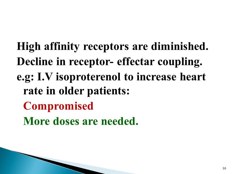 High affinity receptors are diminished