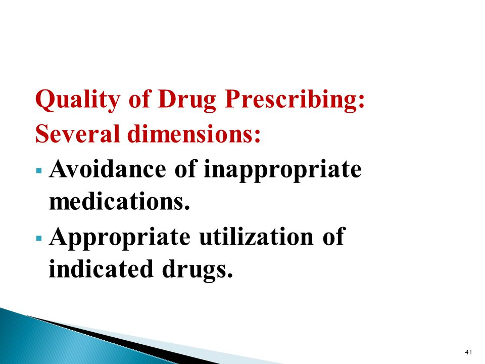 Quality of Drug Prescribing: