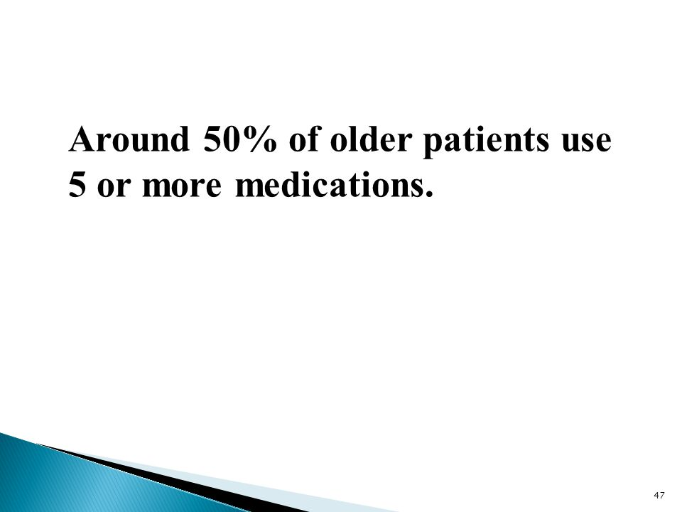 Around 50% of older patients use 5 or more medications.