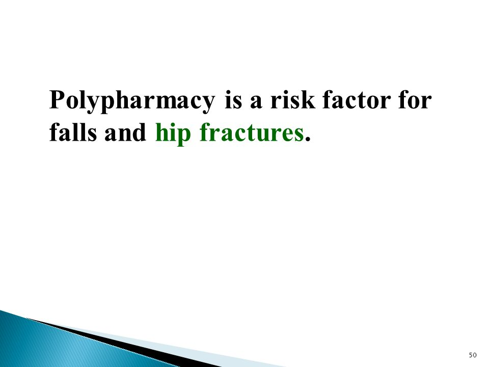 Polypharmacy is a risk factor for falls and hip fractures.