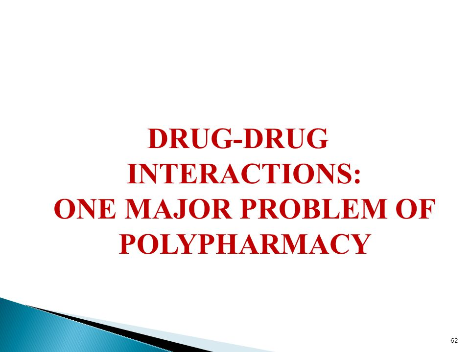 DRUG-DRUG INTERACTIONS: ONE MAJOR PROBLEM OF POLYPHARMACY