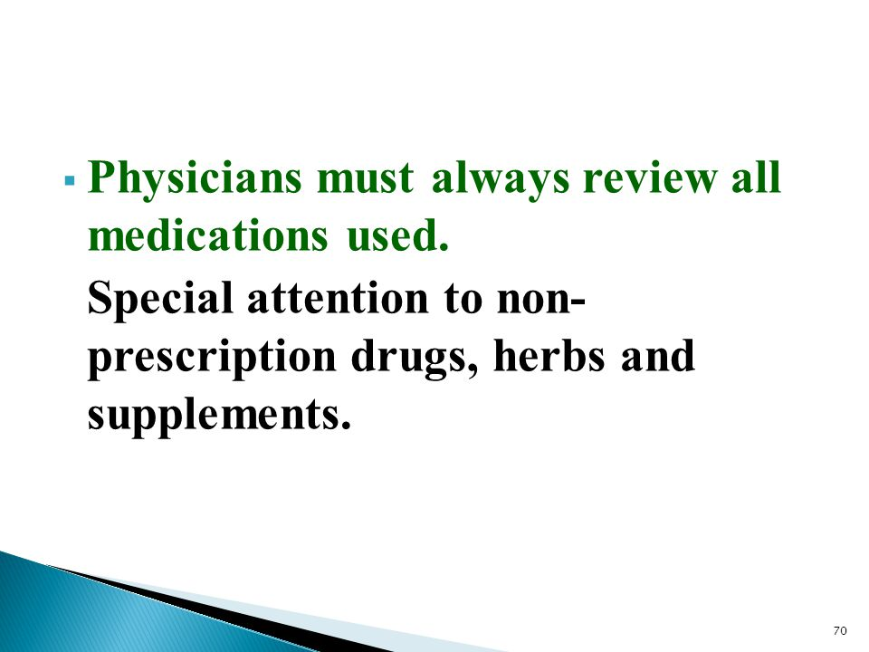 Physicians must always review all medications used.