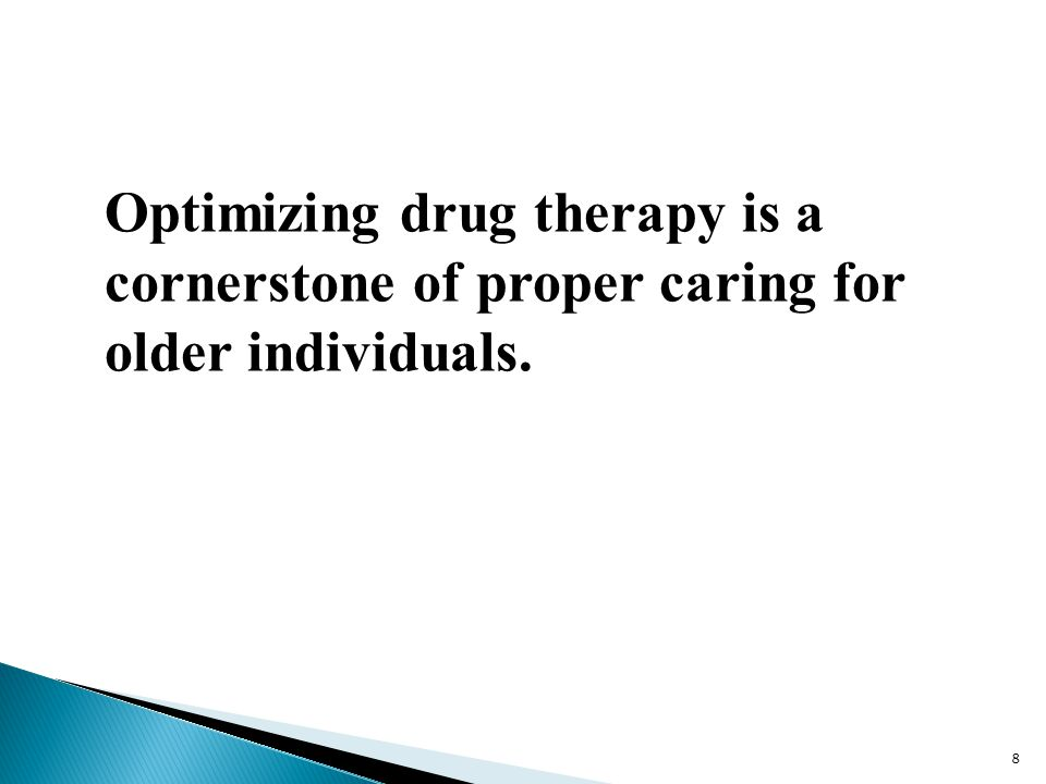Optimizing drug therapy is a cornerstone of proper caring for older individuals.