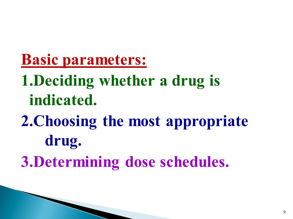 Basic parameters: 1. Deciding whether a drug is indicated. 2