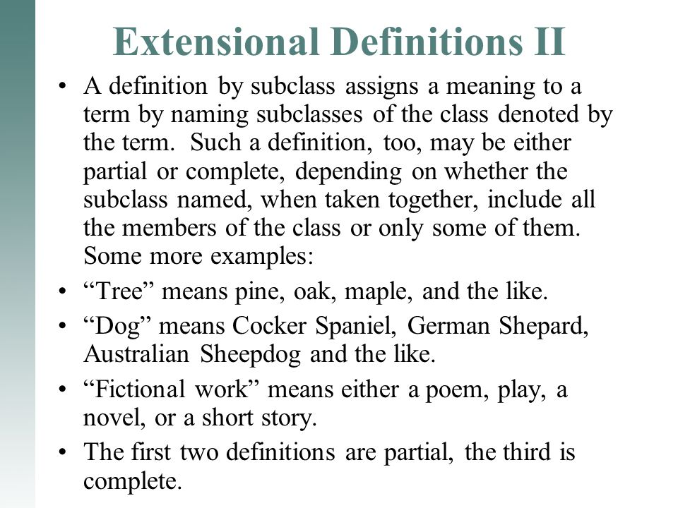 Extensional Definitions II