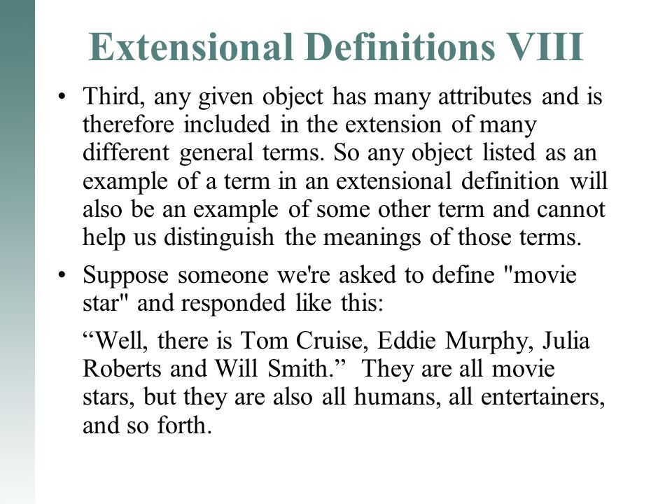 Extensional Definitions VIII