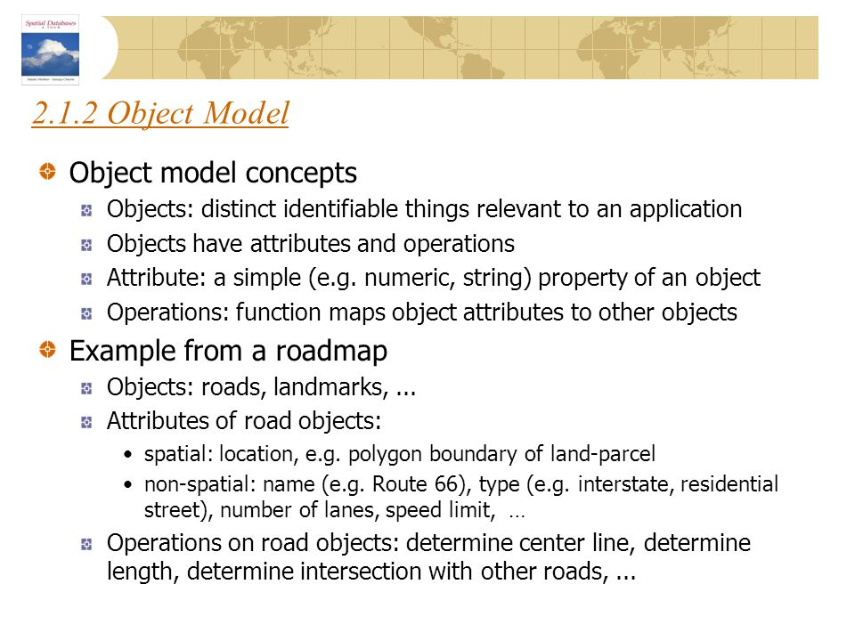 2.1.2 Object Model Object model concepts Example from a roadmap