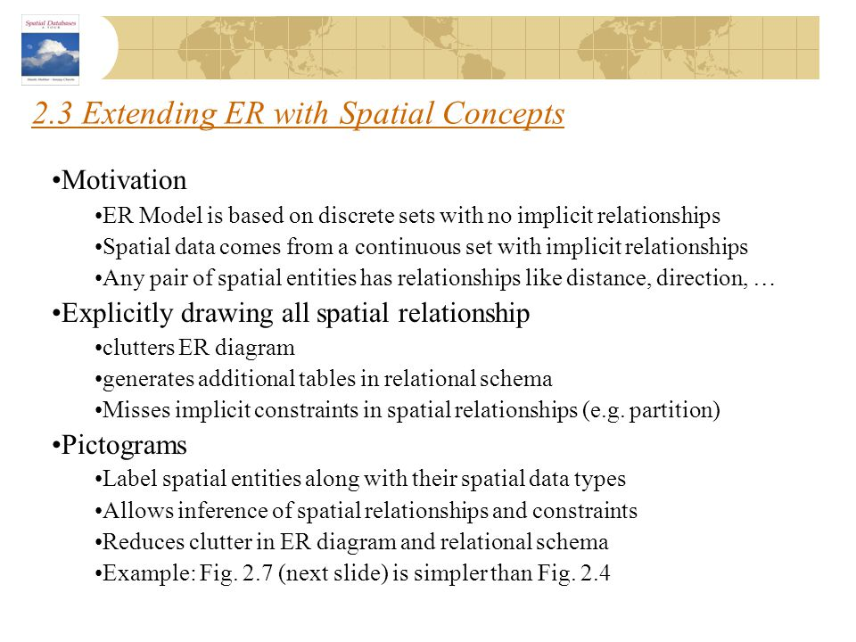 2.3 Extending ER with Spatial Concepts