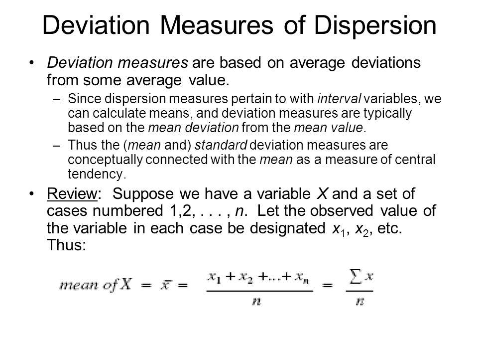 Deviation Measures of Dispersion