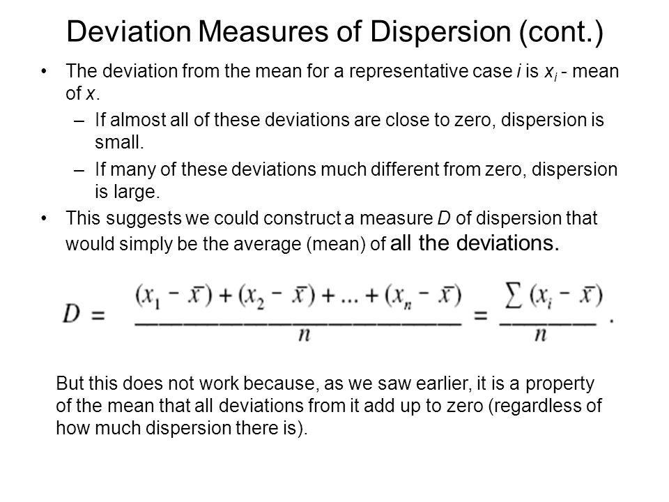Deviation Measures of Dispersion (cont.)