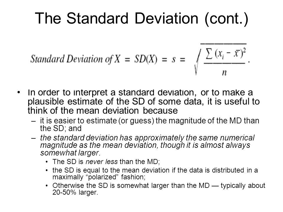 The Standard Deviation (cont.)
