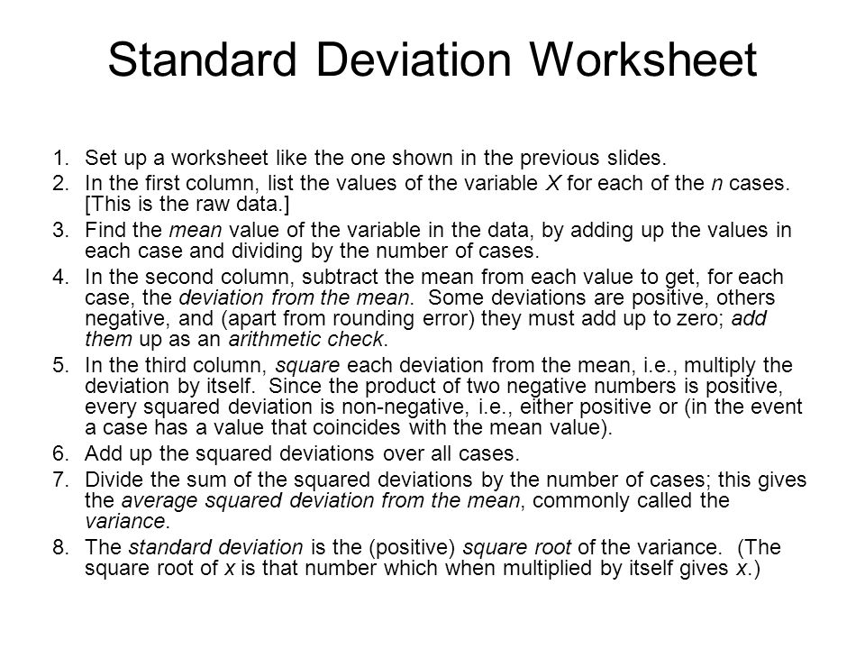 MEASURES OF DISPERSION ppt video online download – Standard Deviation Worksheet