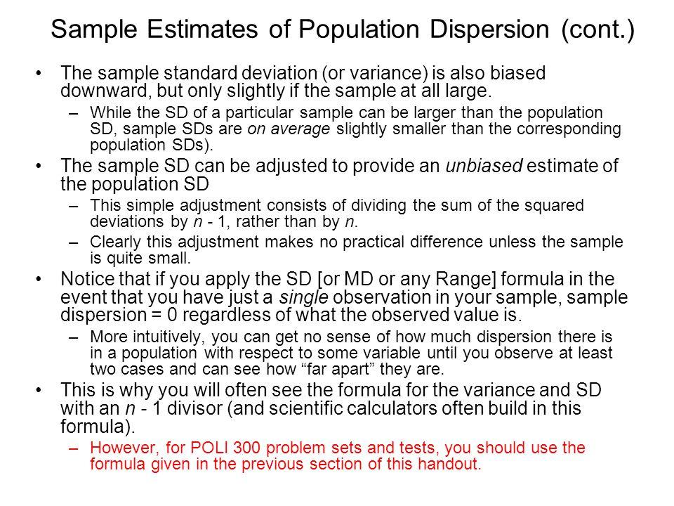 Sample Estimates of Population Dispersion (cont.)