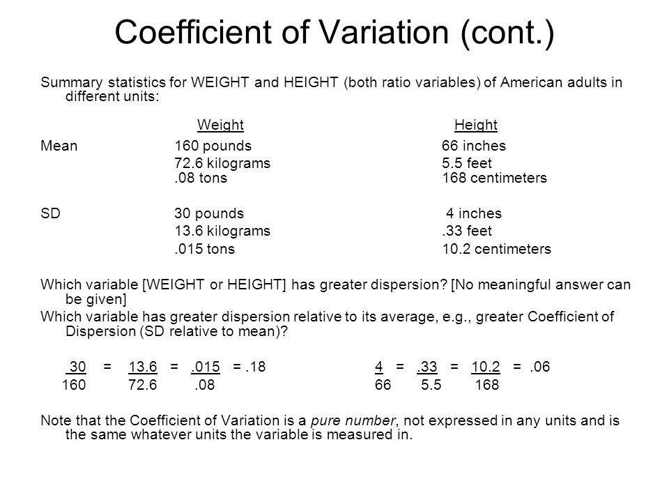 Coefficient of Variation (cont.)