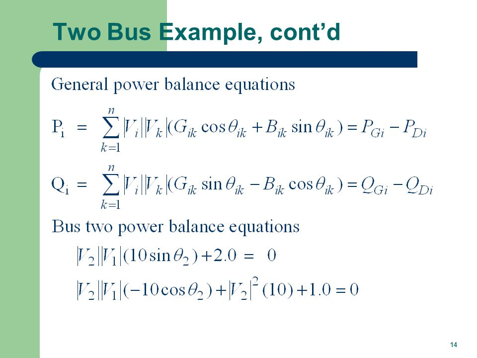 Two Bus Example, cont'd