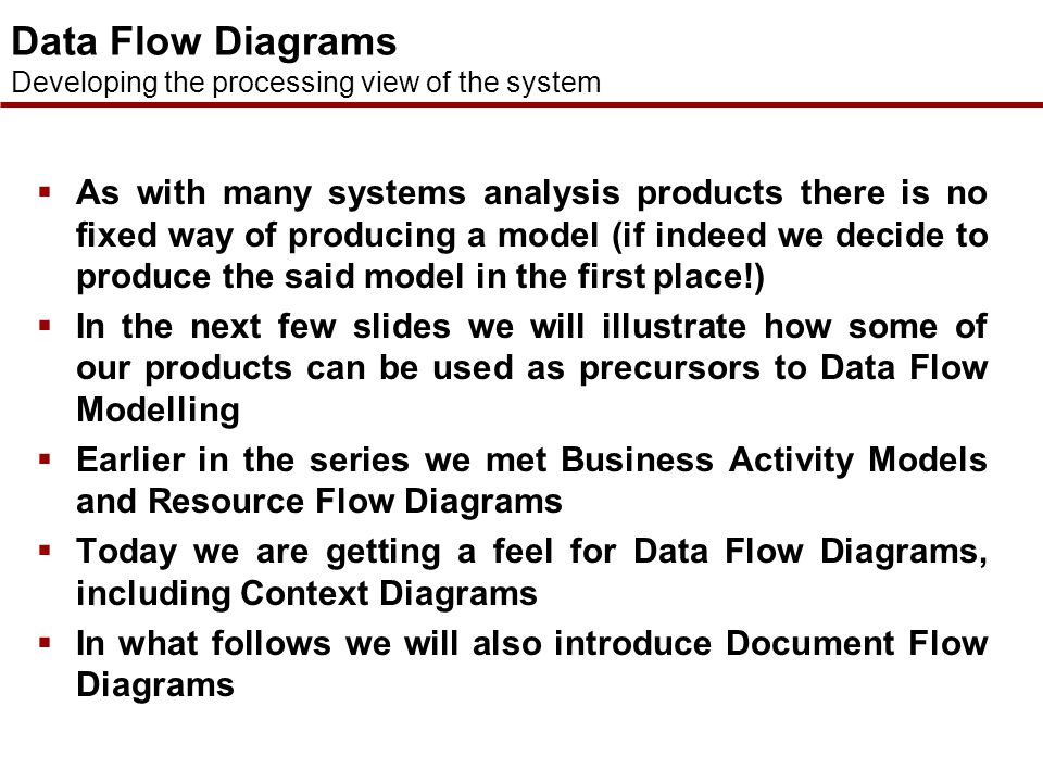 Data Flow Diagrams Developing the processing view of the system.