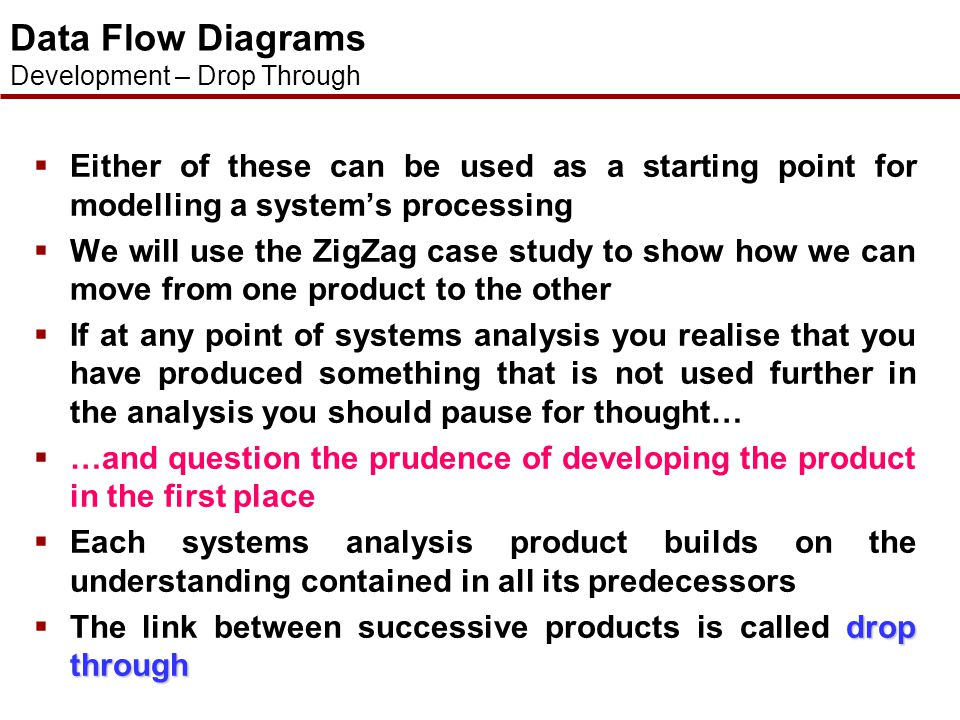 Data Flow Diagrams Development – Drop Through. Either of these can be used as a starting point for modelling a system's processing.
