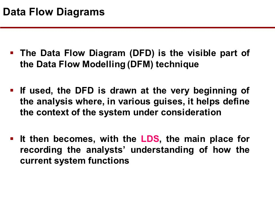 Data Flow Diagrams The Data Flow Diagram (DFD) is the visible part of the Data Flow Modelling (DFM) technique.