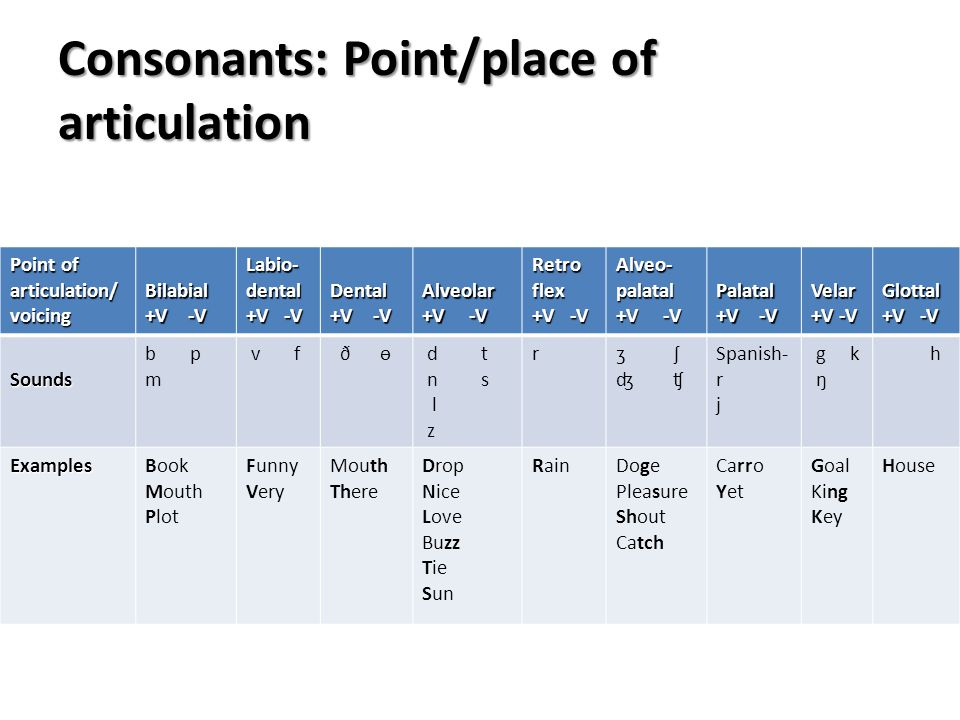 Consonants: Point/place of articulation