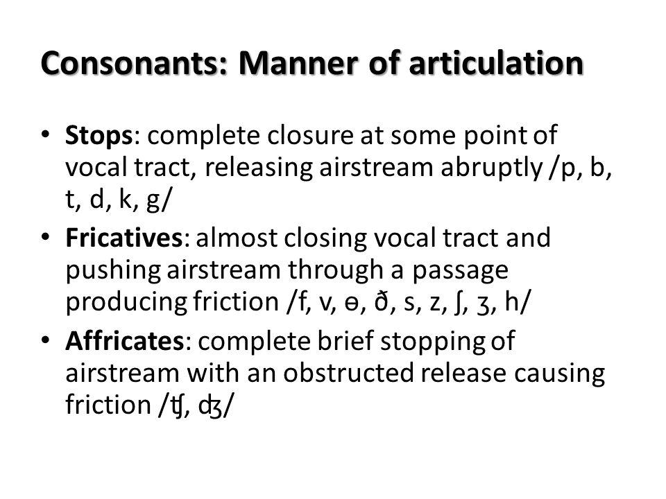 Consonants: Manner of articulation