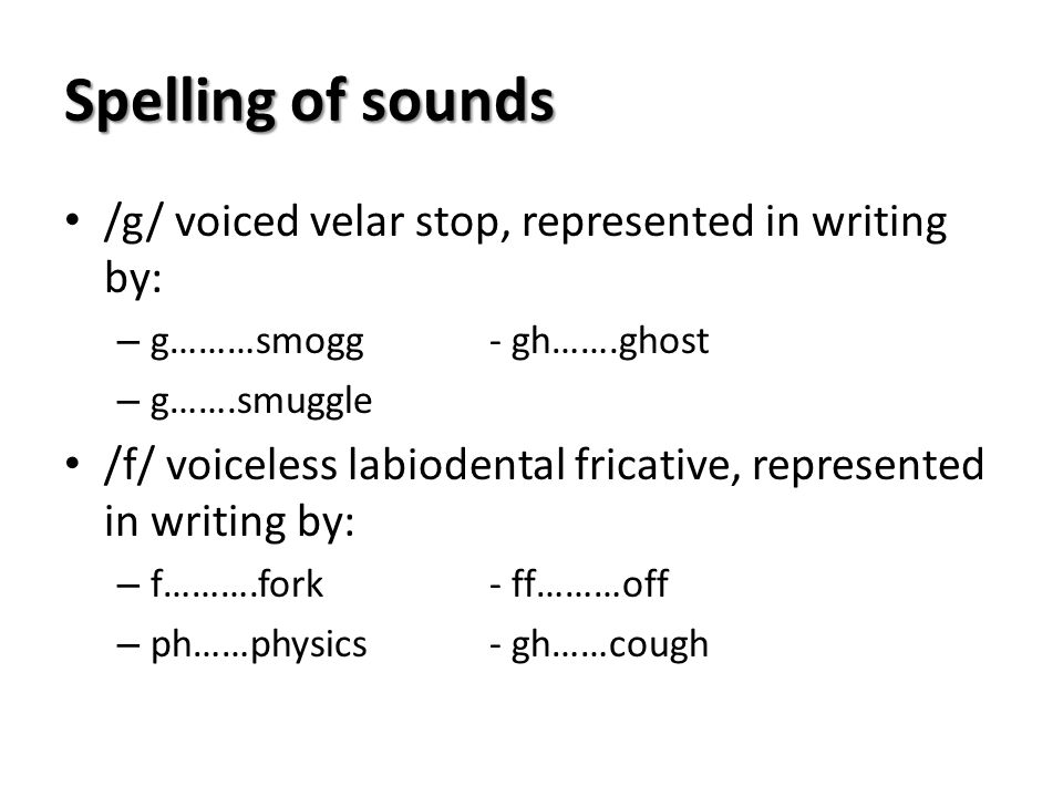 Spelling of sounds /g/ voiced velar stop, represented in writing by: