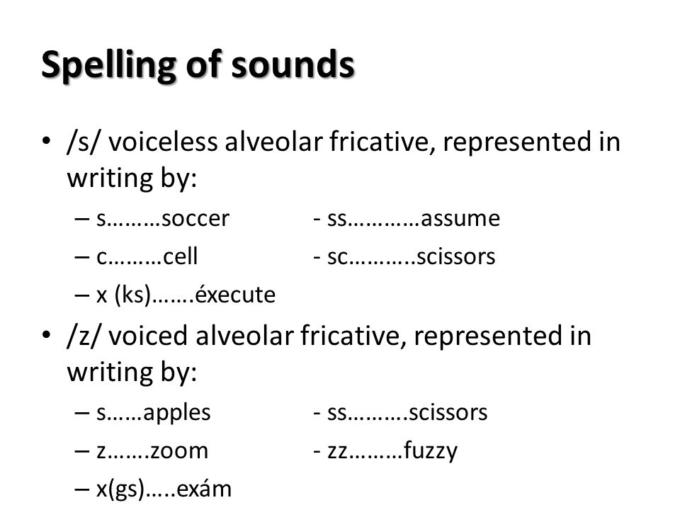 Spelling of sounds /s/ voiceless alveolar fricative, represented in writing by: s………soccer - ss…………assume.