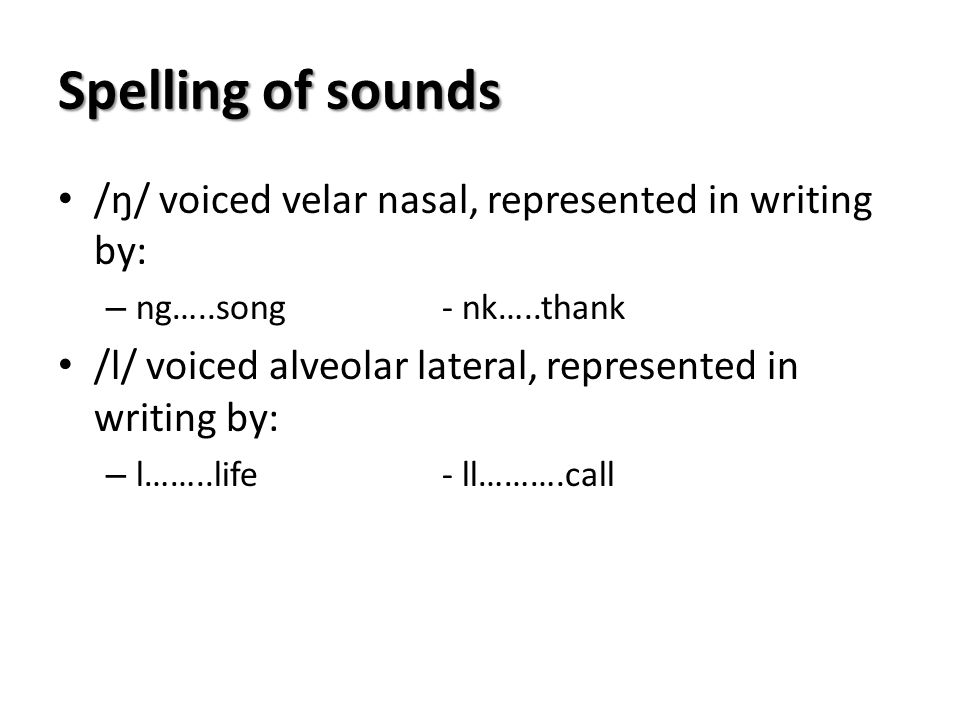 Spelling of sounds /ŋ/ voiced velar nasal, represented in writing by: