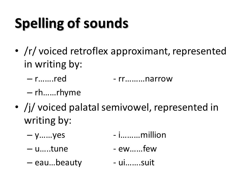 Spelling of sounds /r/ voiced retroflex approximant, represented in writing by: r…….red - rr………narrow.