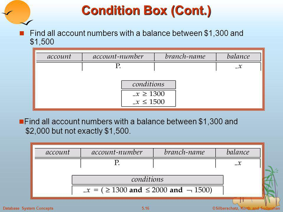 Condition Box (Cont.) Find all account numbers with a balance between $1,300 and $1,500.