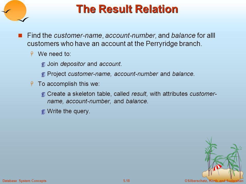 The Result Relation Find the customer-name, account-number, and balance for alll customers who have an account at the Perryridge branch.
