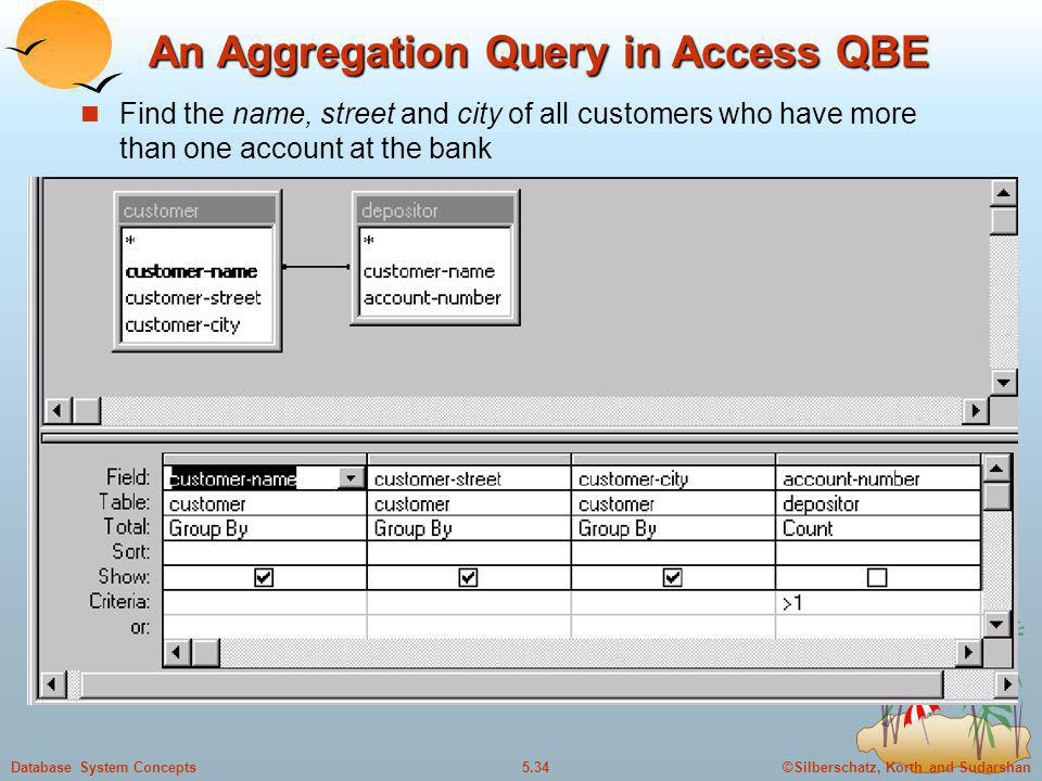 An Aggregation Query in Access QBE