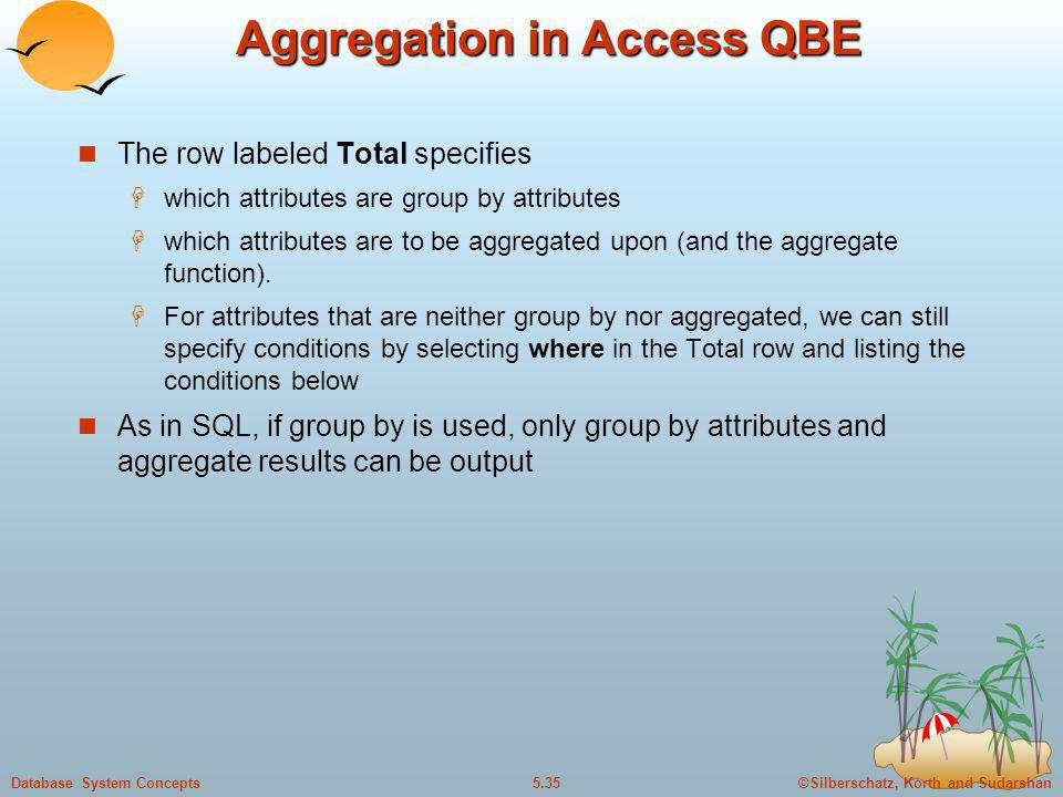 Aggregation in Access QBE