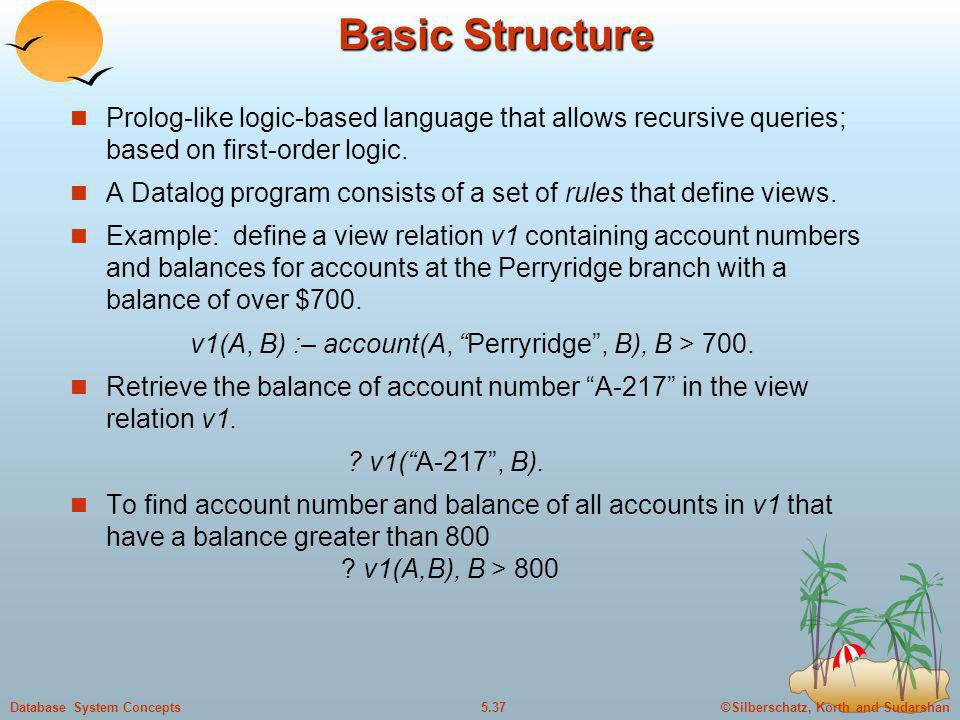 Basic Structure Prolog-like logic-based language that allows recursive queries; based on first-order logic.