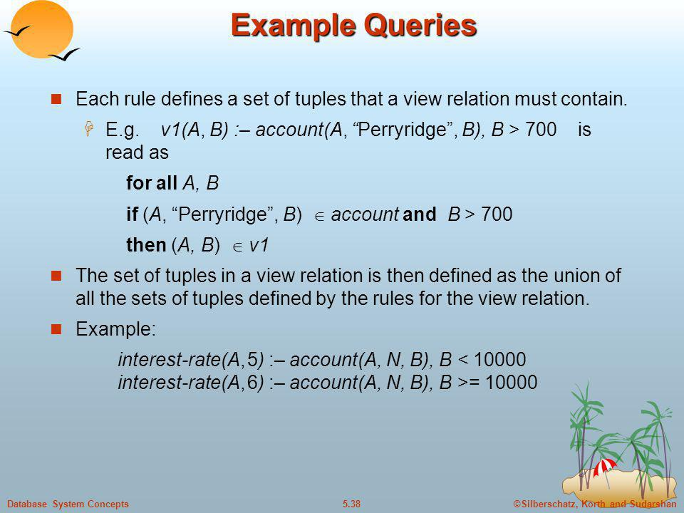Example Queries Each rule defines a set of tuples that a view relation must contain.