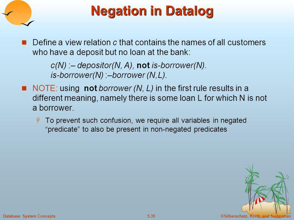 Negation in Datalog Define a view relation c that contains the names of all customers who have a deposit but no loan at the bank: