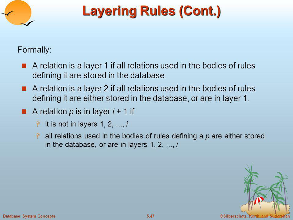 Layering Rules (Cont.) Formally: