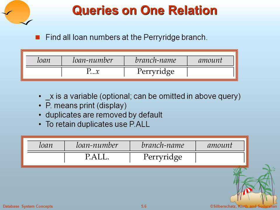 Queries on One Relation