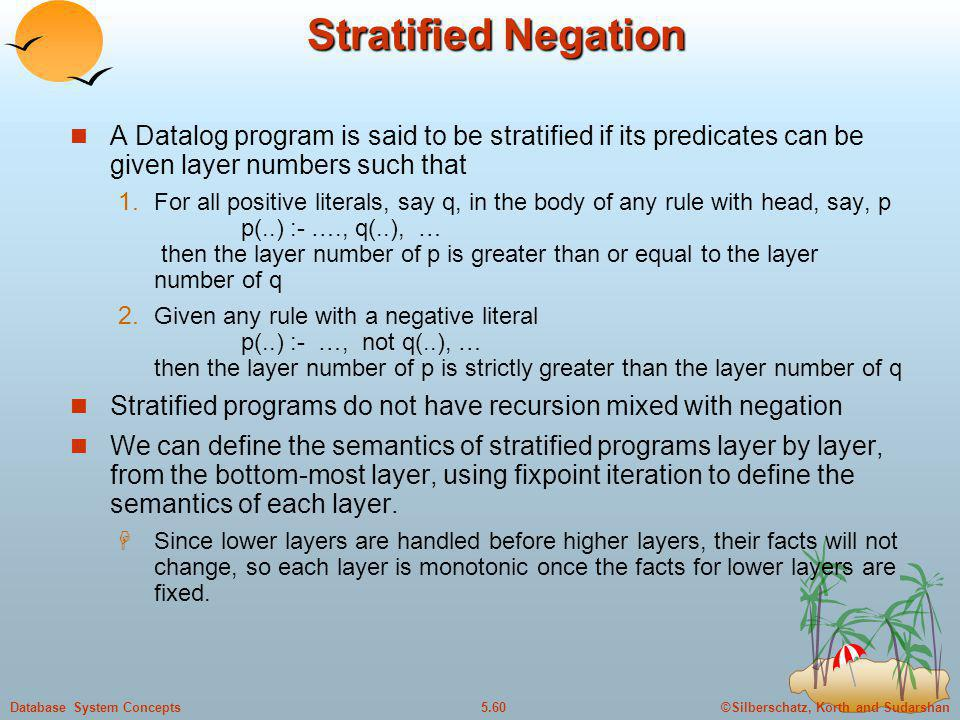 Stratified Negation A Datalog program is said to be stratified if its predicates can be given layer numbers such that.