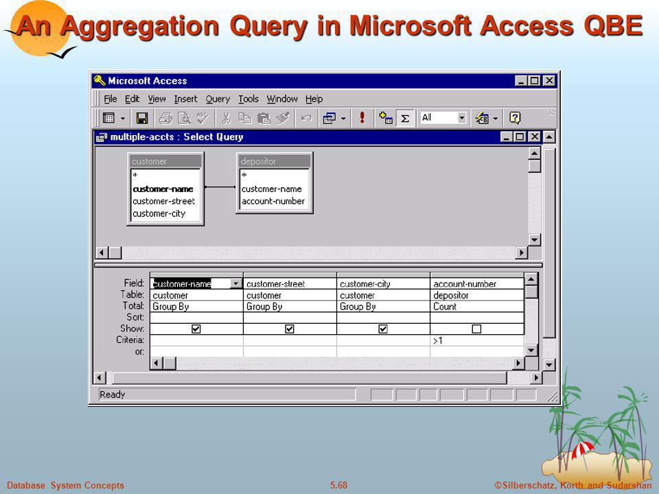 An Aggregation Query in Microsoft Access QBE