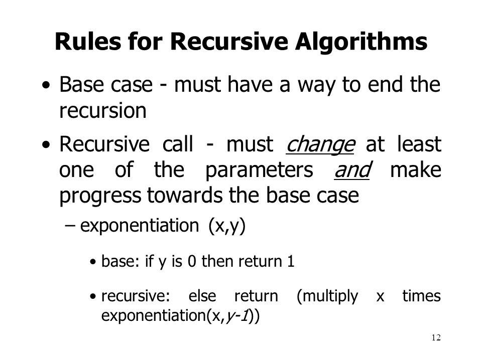 Rules for Recursive Algorithms