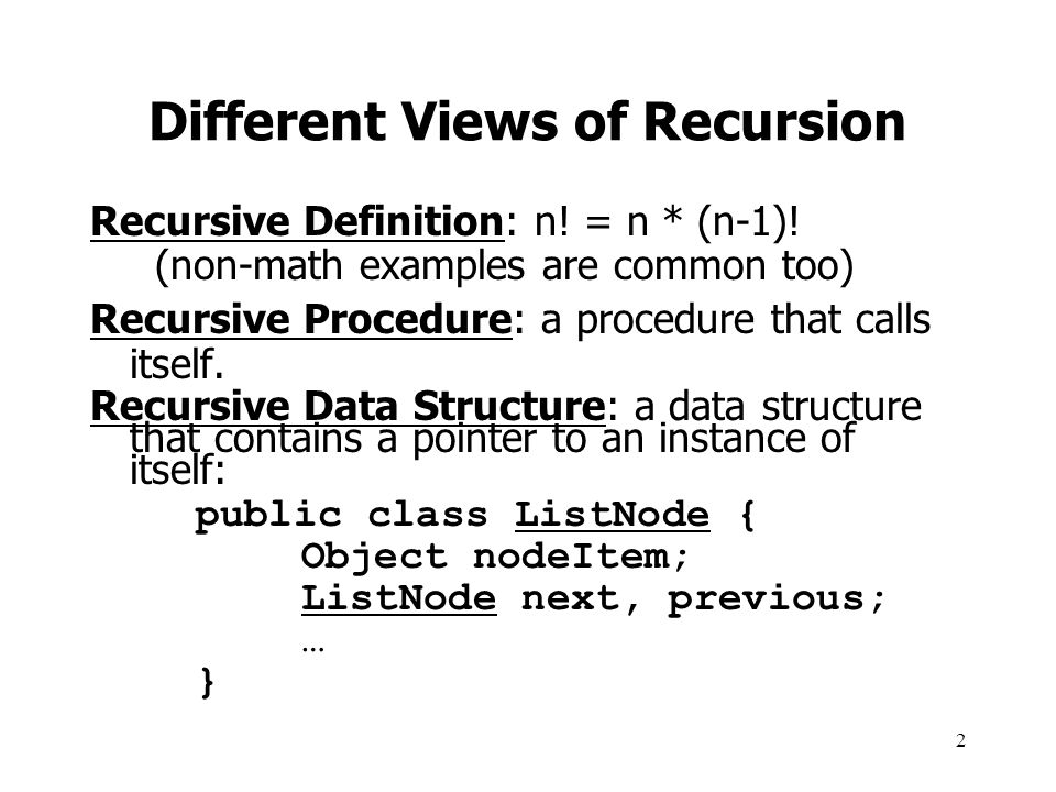 Different Views of Recursion