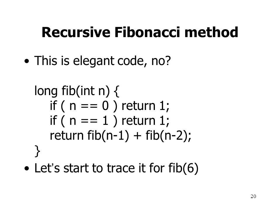 Recursive Fibonacci method