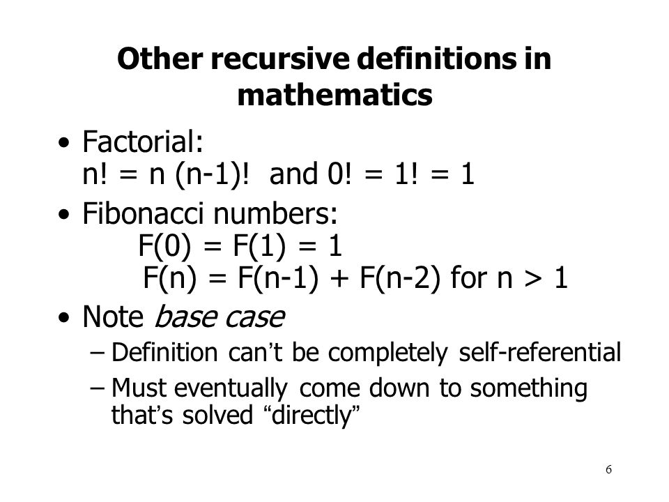 Other recursive definitions in mathematics