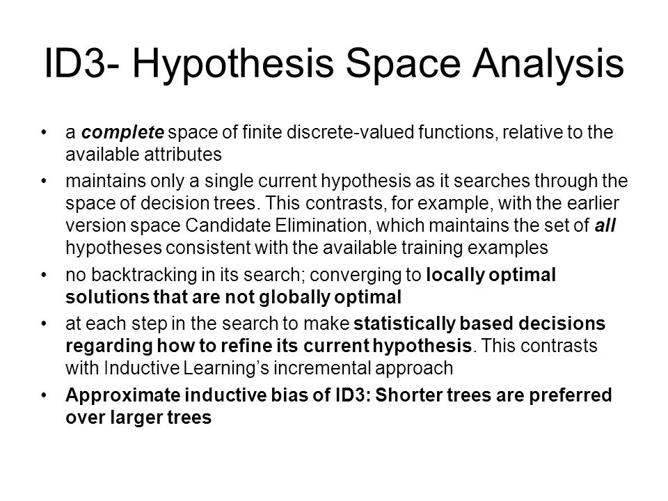 ID3- Hypothesis Space Analysis