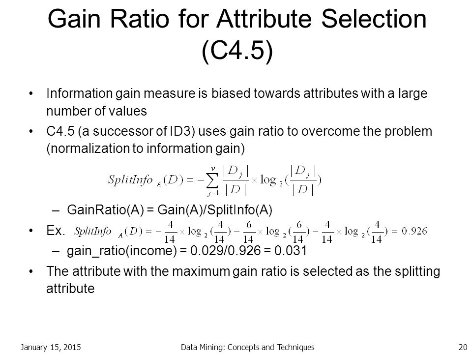 Gain Ratio for Attribute Selection (C4.5)