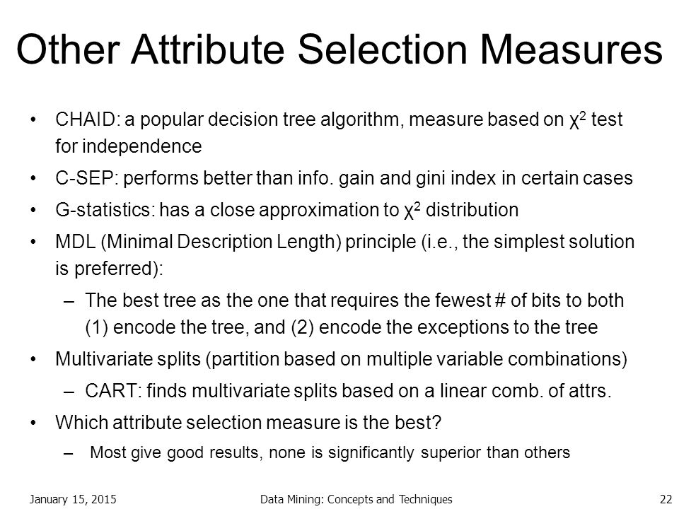 Other Attribute Selection Measures