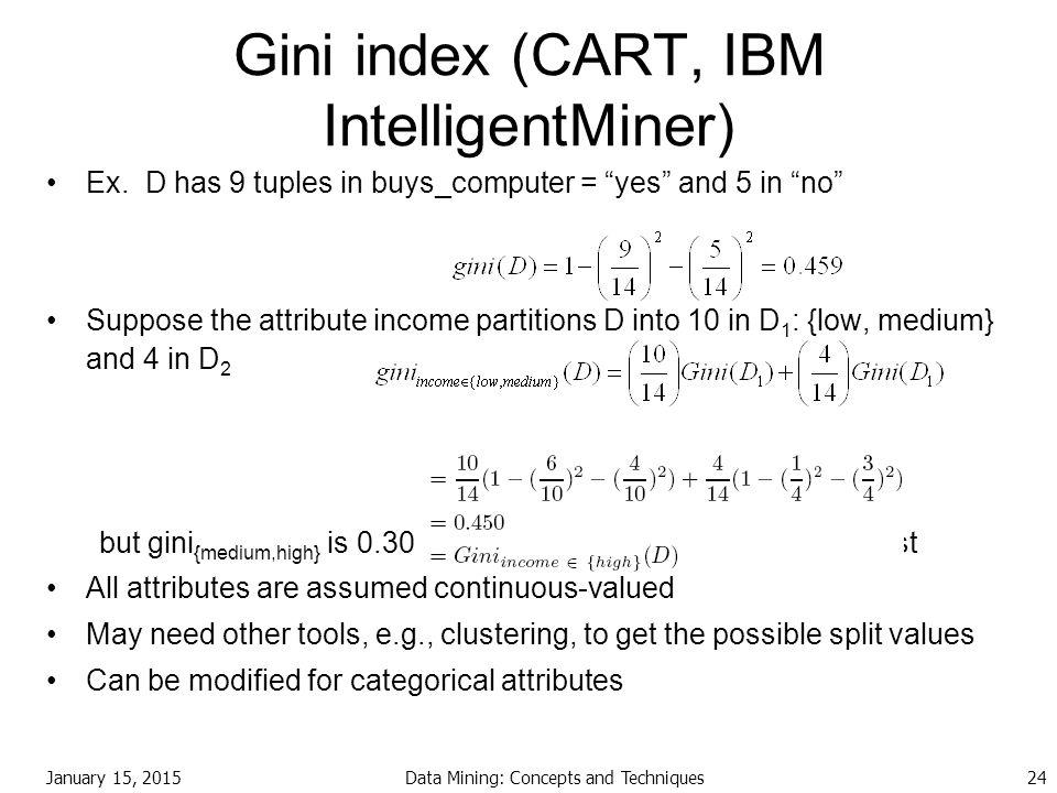 Gini index (CART, IBM IntelligentMiner)