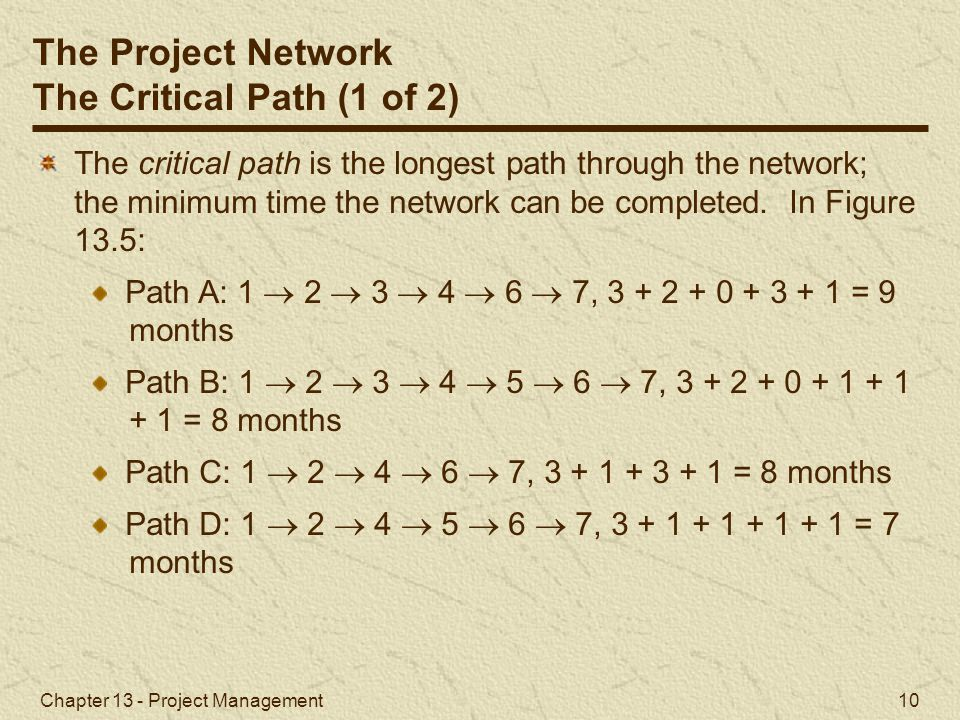 The Project Network The Critical Path (1 of 2)