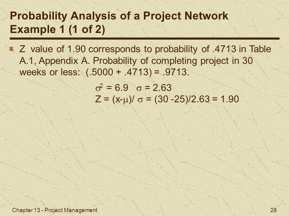 Probability Analysis of a Project Network Example 1 (1 of 2)